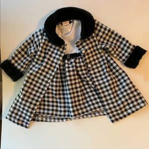 Youngland girls checkered dress and coat size 6-9m